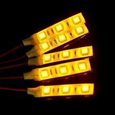 2pcs 5cm 5050-SMD Chips DC 12V Yellow Amber Waterproof LED Strip Car Lights