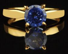 1,10Ct 585er Gelbgold Runden Form 100% natürliche blaue Tansanit Verlobungsring