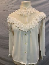 Women's Bethany vintage polyester and lace shirt sheer 3/4
