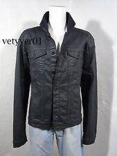 New CALVIN KLEIN Jeans Trucker Wax Coated Cotton Jacket Black Wash Denim sz XXL