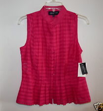 Jones New York Signature Ladies Bright Pink Sleeveless Blouse Size Small NWT