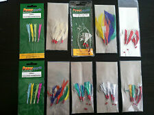 SEA FISHING: PACK OF 10  x  MIXED MACKERAL COLOURED FEATHER / GLITTER RIGS