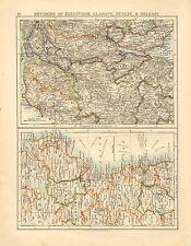 1892 VICTORIAN MAP ~ ENVIRONS OF EDINBURGH GLASGOW SCOTLAND ~ IRELAND DUBLIN