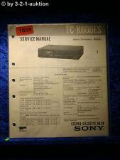 Sony Service Manual TC K600ES Cassette Deck (#1855)