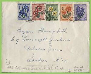 Netherlands 1953 Flowers set on cover to London