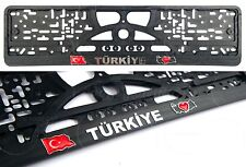 2x TURKEY Türkiye Republic of Turkey TURKIYE LOGO Auto License plate frames 3D