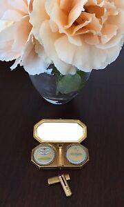 HOUBIGANT Unused Vintage Makeup Compact Rouge Powder Gilt Lipstick 1929 Art Deco