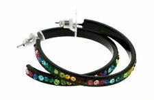 Black Hoop Earrings With Multi-Color Faceted Rhinestone Accents EHP66