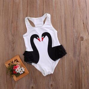 NEW Girls White Swan Ruffle Swimsuit Bathing Suit 4T