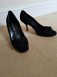 LK Bennett Black Suede Leather Court Shoes with Suede Bow (1940's style)