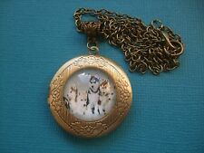 Husky Puppies Locket Necklace Pendant Glass Metal Chain Puppy Dog Siberian