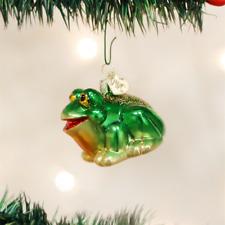 OLD WORLD CHRISTMAS HOP-ALONG FROG GLASS CHRISTMAS ORNAMENT 12166