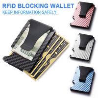 Metal Wallet Slim Carbon Fiber Credit Card Holder RFID Blocking Money Clip Purse