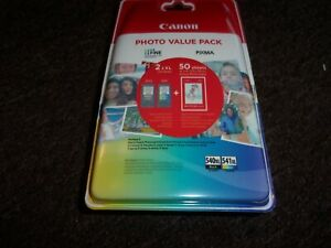 GENUINE CANON INK CARTRIDGES PHOTO PACK 540 541 XL PLUS 4X6 PHOTO PAPER 50 SHEET