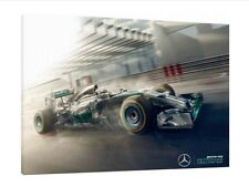 Lewis Hamilton 16x12 Inch Canvas Mercedes Framed Picture F1 Print