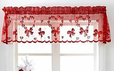 Christmas Cafe Net Curtain Pelmet Romantic Red Hearts Decor Slot Top Ready Made