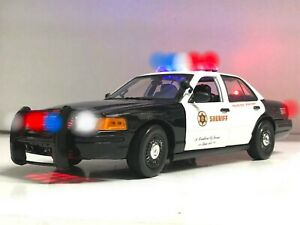 SHERIFF/Police Ford Crown Vic P71 1/18 WORKING Light SIREN Los Angeles LAPD LASO