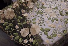 Secret Garden Pale Beige Scalloped Edge Flowers Embroidered Sheer Lace Mesh