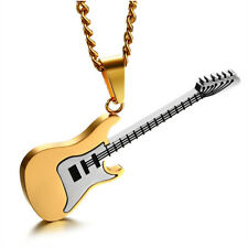 """3 Colors Wolf Musical Electric Guitar Stainless Steel Pendant 24"""" Chain Necklace"""