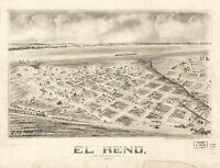 A4 Reprint of America Cities Towns States Map El Reno Oklahoma Territory