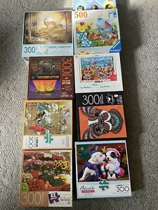 Lot of 9 - (7) 300 Large Pieces Jigsaw Puzzles-  (1) 500 Piece-  (1) 200 Piece