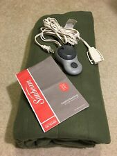 Sunbeam Quilted Fleece Electric Heated Warming Blanket Twin Size Green Manual