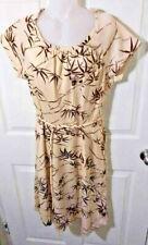 New listing Vtg 70's Disco BoHo Beige Bamboo Floral & Leaves Women's Dress Silky Feel