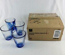 Bormioli Rocco Murano Cobalt Blue Swirl 9 oz Glasses Set of 4 Made in Spain