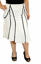 Solid Black White Knee Length Skirt Church Wedding Conservative Women Plus Size