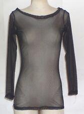 Bruuns Bazaar Black Mesh Long Sleeve Top SZ L
