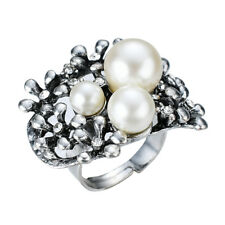 Faux Pearl Crystal Cluster w/ Vintage Flower Statement Ring By JADA Collections