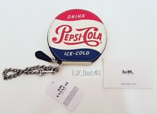 NWT Coach Pepsi Cola Round Coin Purse With Chain Hard To Find
