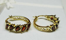 NEW GENUINE GARNET MARQUISE 18K GOLD 925 STERLING SILVER HOOP EARRINGS $100 SALE