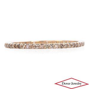 Estate 0.40ct Brown Diamond 14K Rose Gold Thin Eternity Band Ring NR