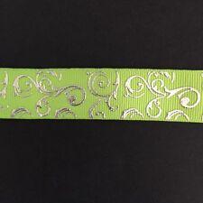 "Lime/Silver Foil Swirl pattern 7/8"" Printed Grosgrain Ribbon 1m"