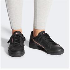 New Women's Adidas Original Logo Throwback Black Pink Leather Sneaker Size 7.5