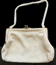 Vtg Handmade Micro-Beaded Ivory Evening Bag Made in Belgium for BLOOMINGDALES