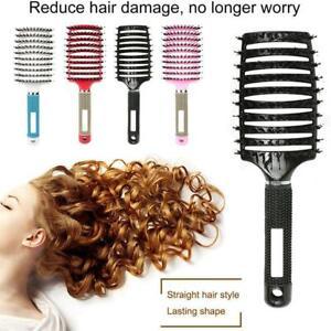 Boar Bristle Hairbrush Women Hair Ionic Round Barrel Hair Scalp Massage