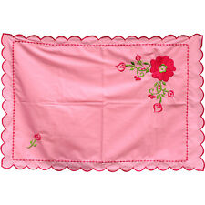 4 Vintage Scalloped Pink Standard Pillowcases, Hot Pink Rose Floral Embroidery