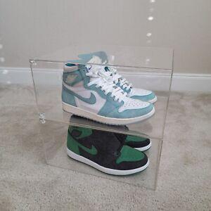 100% Clear Acylic Sneaker Display Box w/ Magnatic Drop Front Door UV Anti Yellow