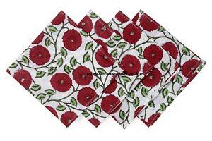 Cotton Hand Block Print Napkins Reusable Washable Party Table Cloths Set Of 4 Pc