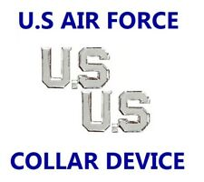 US AIR FORCE SILVER Letters United States Lapel Collar Uniform Insignia Pin Set
