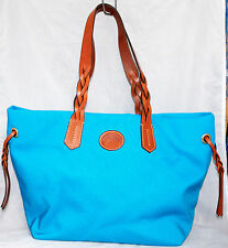DOONEY & BOURKE Large Turquoise Blue Nylon Tote Shopper Brown Leather Trim