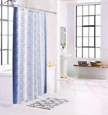 Threshold Shower Curtain Panel Blue Matelasse White 72 x 72 Bathroom New