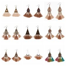 2017 Vintage Colorful Tassel Earrings Cotton Bohemian Hook Drop Women Earrings
