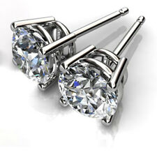 1.00 Ct Round Cut Solitaire Diamond Earring Stud 14K Solid White Gold Studs