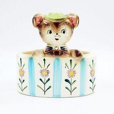Vintage Mid Century Mouse Bear Hat Baby Nursery Flower Planter Oval Rhinestone