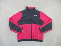 The North Face Jacket Girls Medium Pink Gray Denali Fleece Full Zip Youth Kid B4
