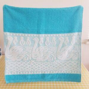 Vintage Retro Blue Swan Hand Towel 60s 70s 80s vw tv prop