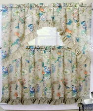 NWT BIRDS KITCHEN WINDOW TREATMENT 3 PC SET TIERS VALANCE FLORAL CURTAIN NEUTRAL